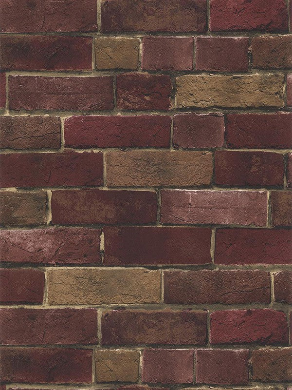 Multiple Shades of Red and Brown Extremely Detailed Brick Wallpaper - all4wallswall-paper