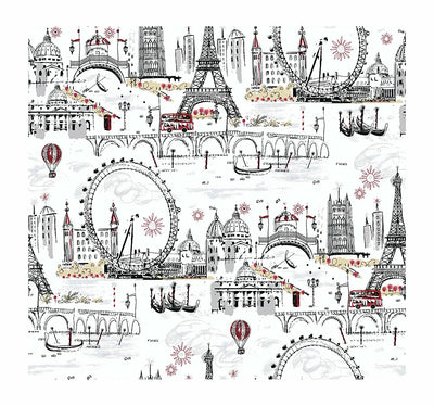 Black & White Novelty Paris Euro Scenic Sure Strip Wallpaper - all4wallswall-paper