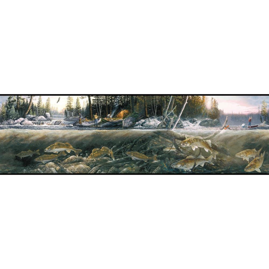 York Wallcoverings Fishing the Falls Wallpaper Border - all4wallswall-paper