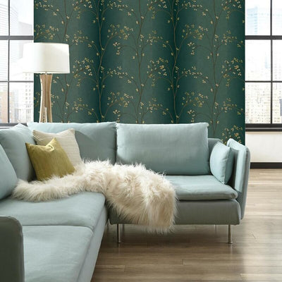 Vertical Blossoms on Dark Sea Green on Sure Strip Wallpaper - all4wallswall-paper