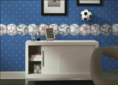 Red, Blue, Green Laser Cut Soccer Balls Sure Strip Wallpaper Border - all4wallswall-paper