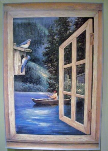 Boat Fishing on the Lake Window Wallpaper Mini Mural - all4wallswall-paper