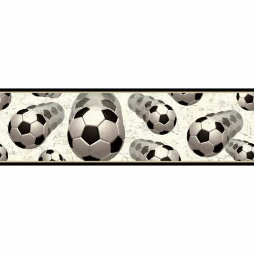 Soccer Balls In Motion Easy Walls Wallpaper Border - all4wallswall-paper