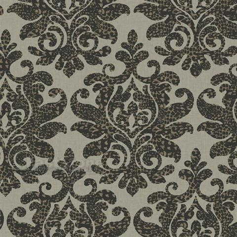Carey Lind Damask with a Leopard Twist on Unpasted Beige Wallpaper - all4wallswall-paper