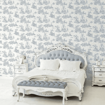 Blue Colonial Medium Sz Toile on Soft White Wallpaper CH22510 - all4wallswall-paper