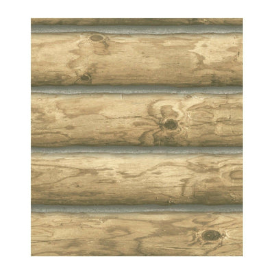 "3-D Light Blonde Log Cabin 27"" Wide on Sure Strip Wallpaper - all4wallswall-paper"