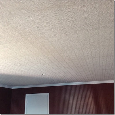 Small Ceiling Tile Raised White Textured Paintable Wallpaper - all4wallswall-paper