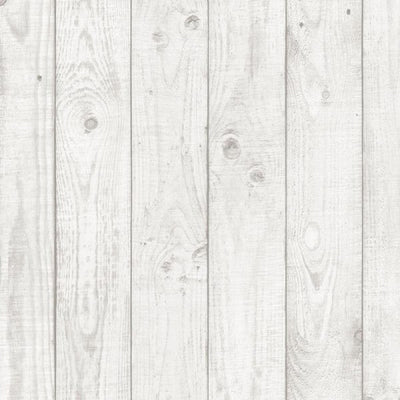 "White Faux Wood Grain Planks 3.5"" Wide Wallpaper - all4wallswall-paper"