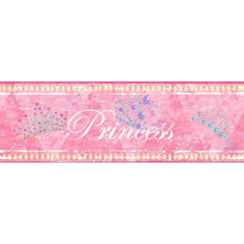 Candice Olson Princess with Crowns in Pink Wallpaper Border - all4wallswall-paper