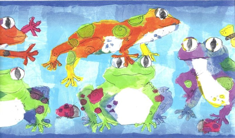 Rainbow of Frogs Wallpaper Border - all4wallswall-paper