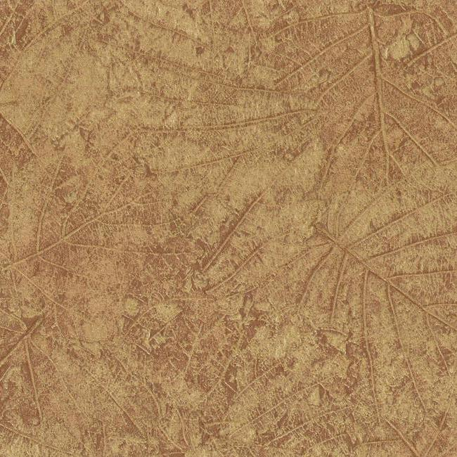 York Brown Tossed Leaves with Sheen Embossed Wallpaper