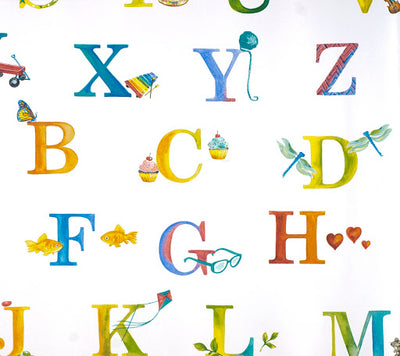 Colorful Alphabet on Soft White Wallpaper - all4wallswall-paper
