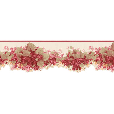 Red Hydrangea Floral Small Laser Cut Wallpaper Border - all4wallswall-paper