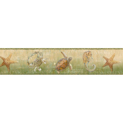 Green Coastal Ocean Starfish, Seahorse, Turtle, Easy Walls Wallpaper Border - all4wallswall-paper