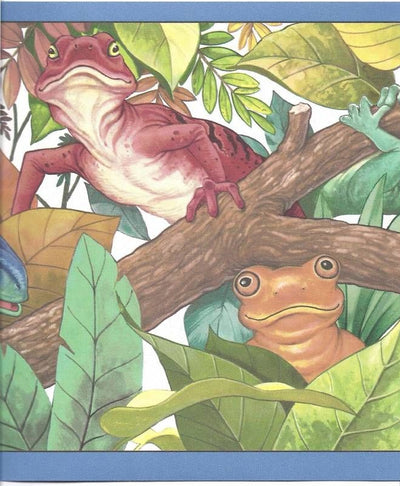 Colorful Lizards in Trees Wallpaper Border - all4wallswall-paper