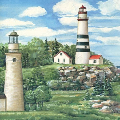 Daybreak Lighthouses on the Coast on Easy Walls Wallpaper Border - all4wallswall-paper
