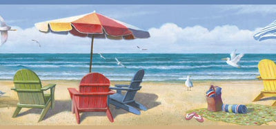 Colorful Beach Chairs on the Sand on Easy Walls Wallpaper Border - all4wallswall-paper