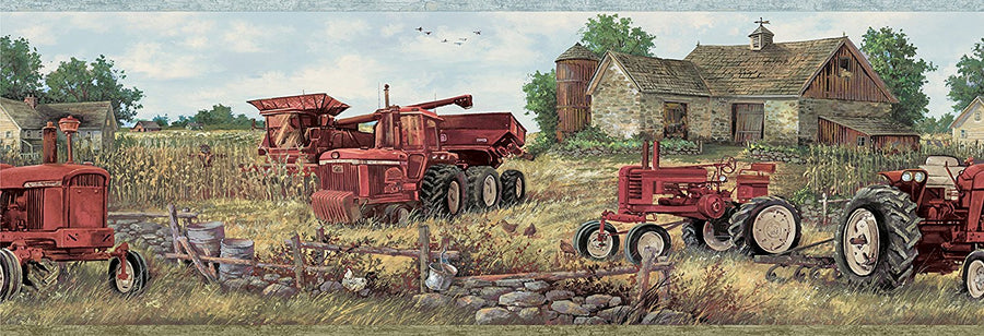 Oakley Red Countryside Tractor Easy Walls Wallpaper Border - all4wallswall-paper