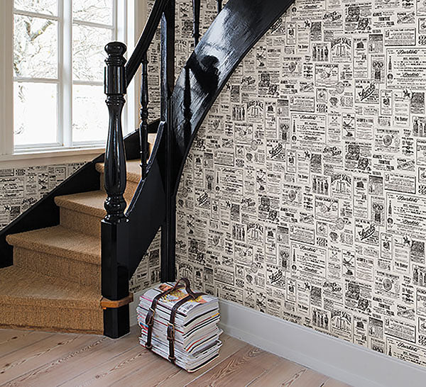 Chesapeake Adamstown Ivory Vintage Newspaper Easy Walls Wallpaper - all4wallswall-paper