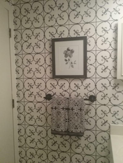Avalon Faded Black Wrought Iron Scroll Work on Off White Wallpaper - all4wallswall-paper