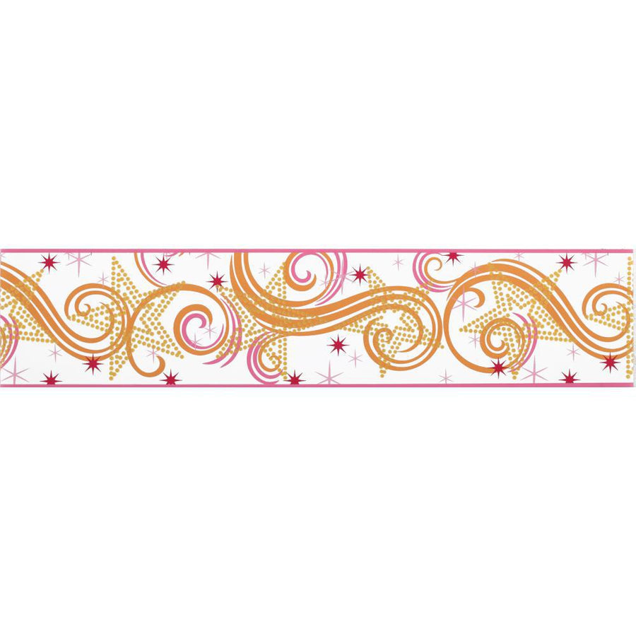 Rock Star Disney Girls Hot Pink & Orange Star & Scroll Wallpaper Border - all4wallswall-paper