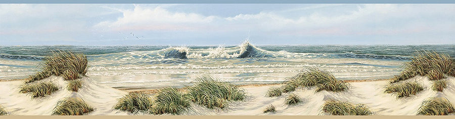 Falmouth Beige Chesapeake Beach Sand Dunes Easy Walls Wallpaper Border - all4wallswall-paper