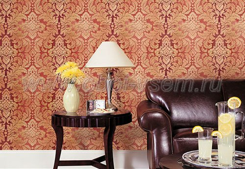 Brown, Beige & Red Formal Damask Wallpaper - all4wallswall-paper