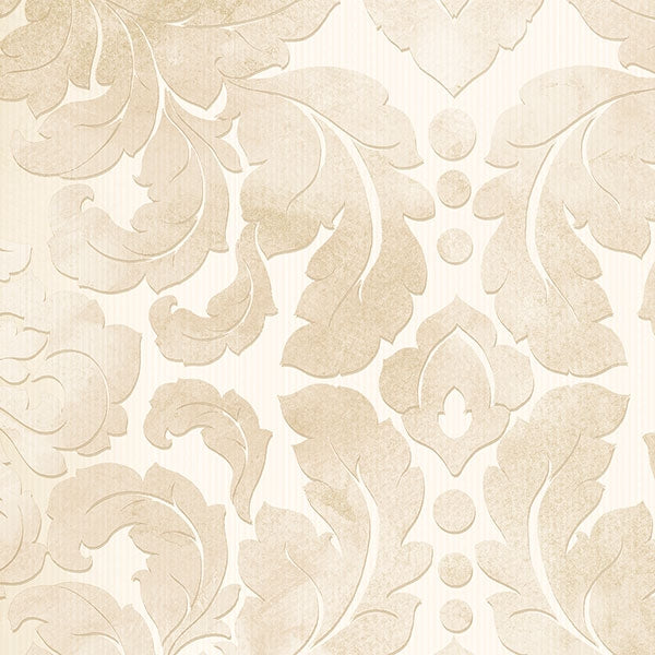 Light Beige & Cream Formal Damask Wallpaper