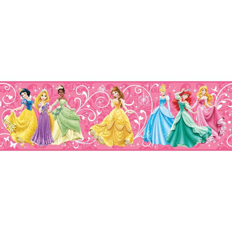 Disney Princess - Princesses in a Row on Hot Pink on Sure Strip Wallpaper Border - all4wallswall-paper