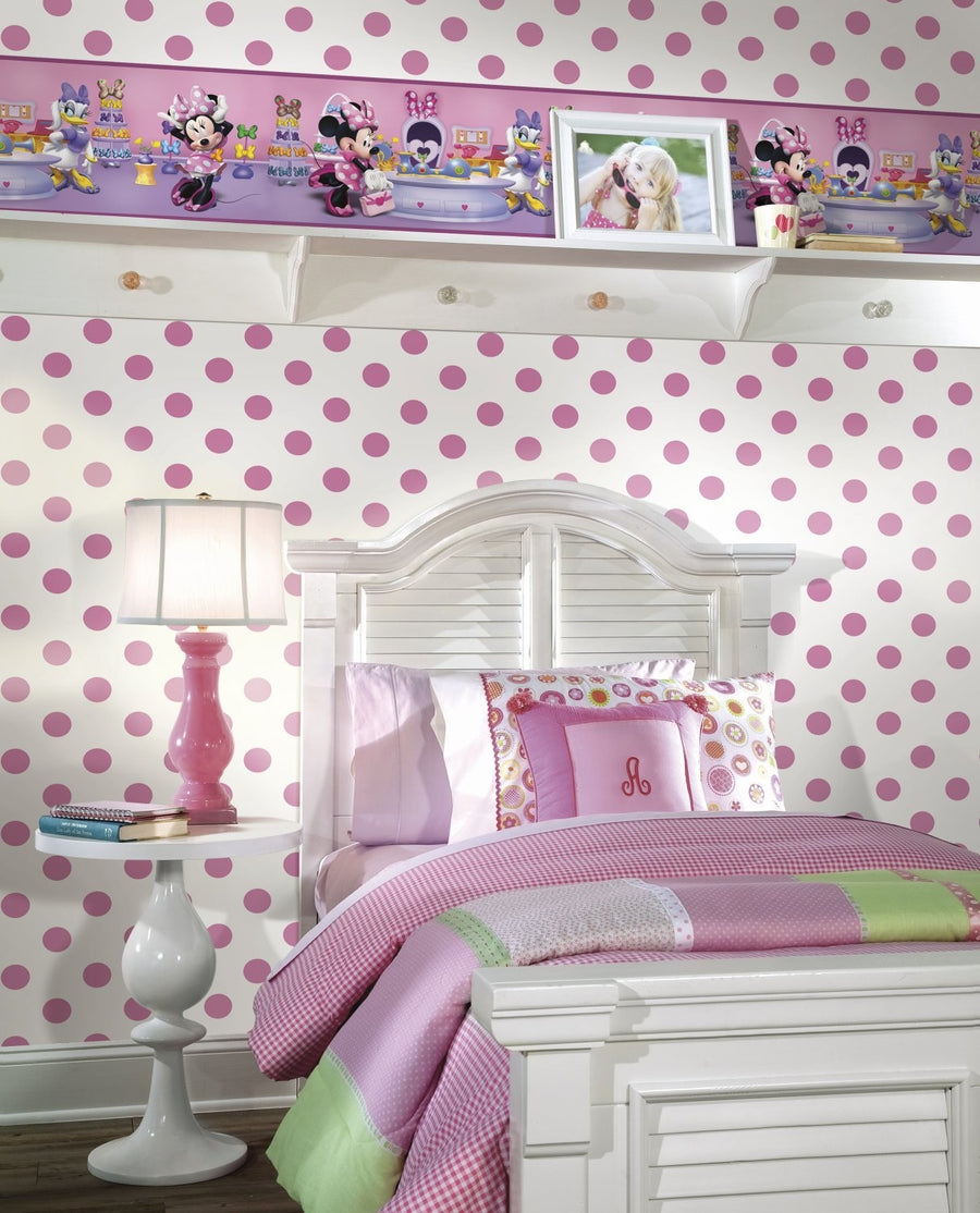 "Medium Size 1.75"" Pink Polka Dots on Sure Strip Wallpaper - all4wallswall-paper"