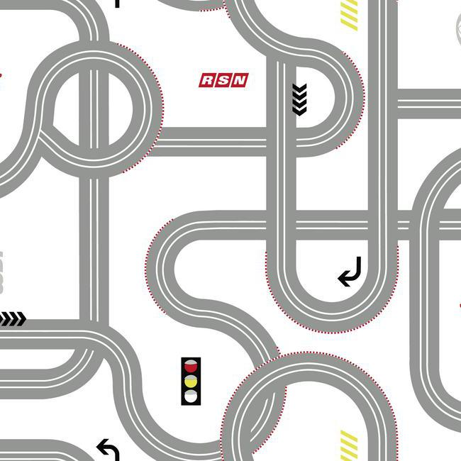 Disney Road - Roadway for Cars on White Sure Strip Wallpaper - all4wallswall-paper