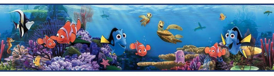 Disney Finding Nemo and Dory in the Blue Sea on Sure Strip Wallpaper Border - all4wallswall-paper