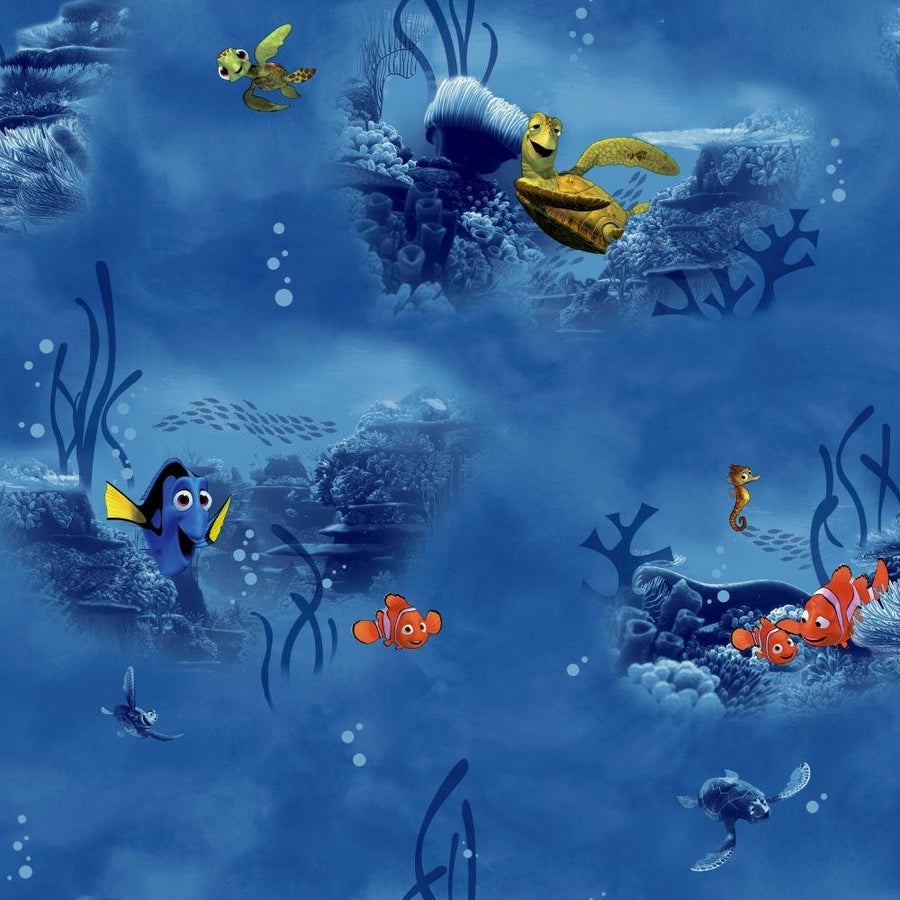 Disney Finding Nemo in Blue on Sure Strip Wallpaper - all4wallswall-paper
