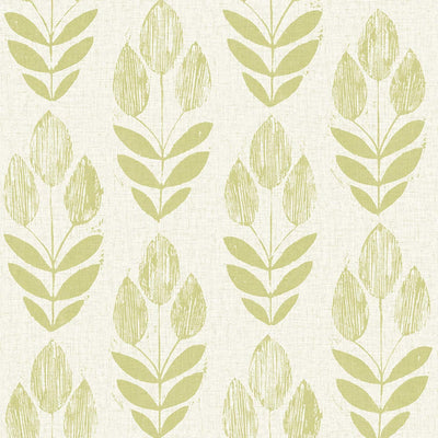 Contemporary Modern Lime Green Leaves on Linen Paste the Wall Wallpaper - all4wallswall-paper