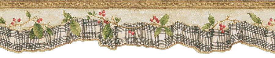 Folk Art Plaid Ribbon Laser Cut With Berries Wallpaper Border - all4wallswall-paper