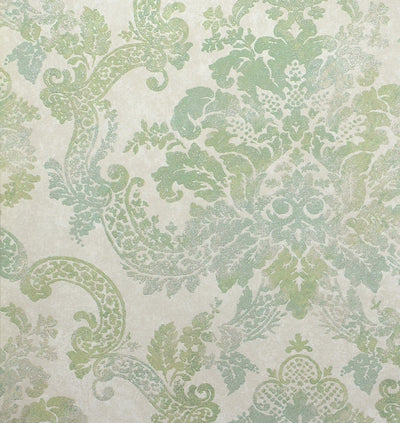 Formal Green and Beige Damask with Glitter on Beige Wallpaper - all4wallswall-paper