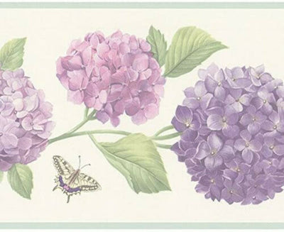 Hydrangea in Pink and Purple Wallpaper Border FK78468 - all4wallswall-paper