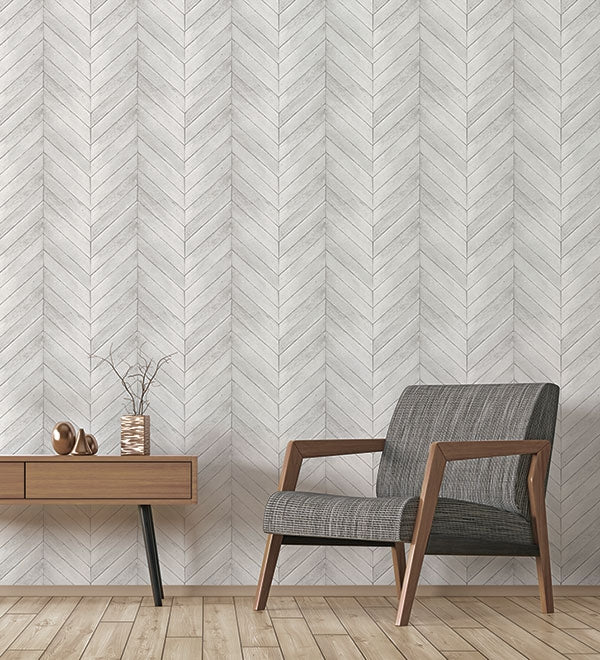 Off White & Grey Herringbone Wood Solid Vinyl on Paste the Wall Wallpaper - all4wallswall-paper
