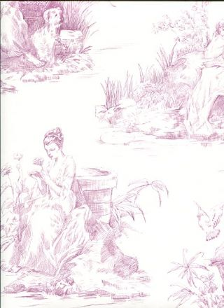 Lilac Women in the Garden Medium Sz Toile on Soft White Wallpaper - all4wallswall-paper