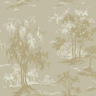 Champagne, Gold, Egg Shell Tree Silhouettes on Unpasted Sheen Wallpaper - all4wallswall-paper