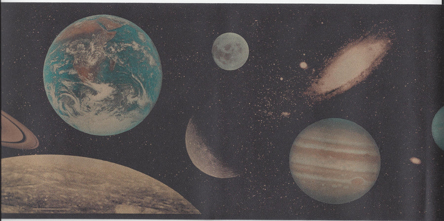 Outer Space Planets on Black Wallpaper Border - all4wallswall-paper