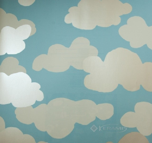 "Kids Clouds in White and Pearlescent on Sure Strip 27"" Wallpaper - all4wallswall-paper"