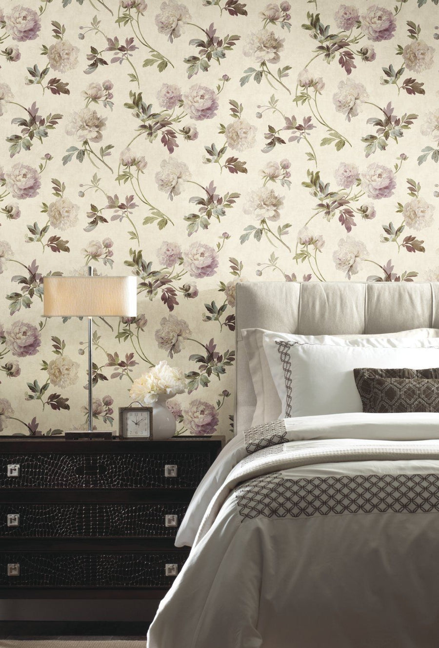 Whitworth Peony on Faux Beige Linen Wallpaper - all4wallswall-paper
