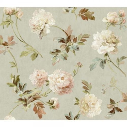 Whitworth Peony on Faux Green Linen Wallpaper - all4wallswall-paper