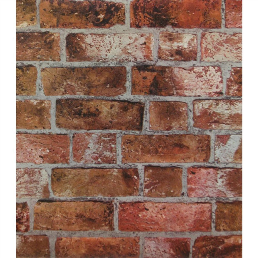 Puffy Textured Red and Brown Brick With Grey Grout Wallpaper - all4wallswall-paper