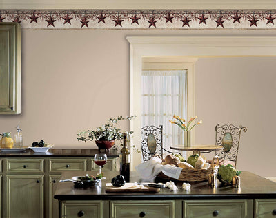 Folk Art Stars and Berries on Vanilla Sure Strip Wallpaper Border - all4wallswall-paper