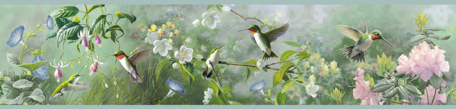 Hummingbirds above the Blooms Blue Edge Easy Walls Wallpaper Border - all4wallswall-paper