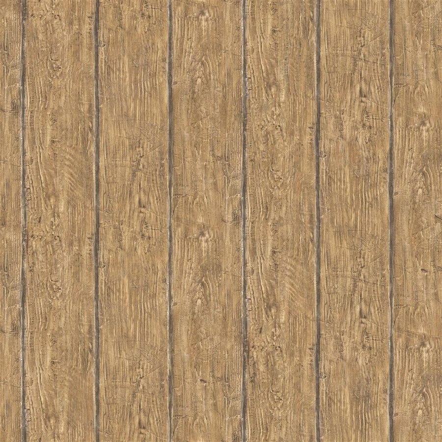 Walnut Brown Worn Wood Brewster Easy Walls Wallpaper - all4wallswall-paper