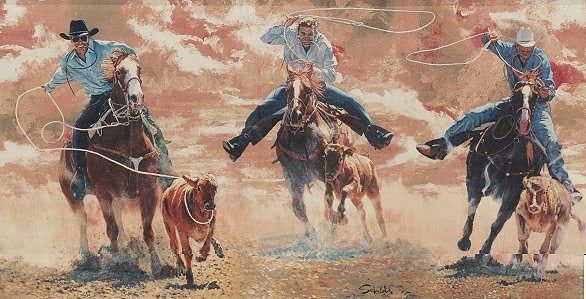 Western Cowboy Roping & Riding Wallpaper Border - all4wallswall-paper