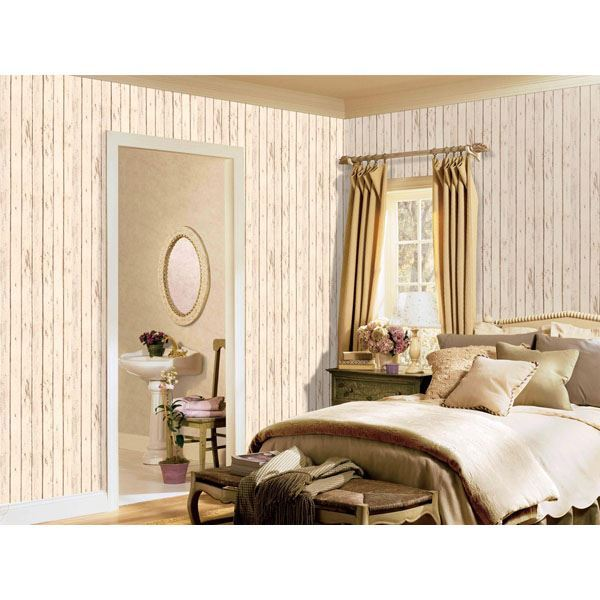 "Weathered Off White Wood Grain 3"" Wide Planks Wallpaper - all4wallswall-paper"
